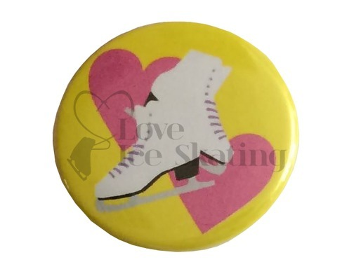 Pink Hearts and Ice Skates 2 Badge