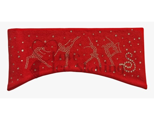 Sagester Red Ice Skating Headband with Swarovski Crystals