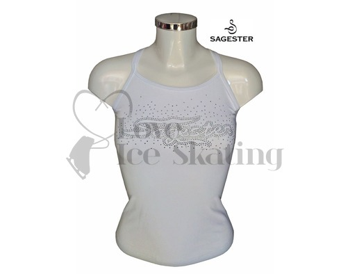 Sagester White 019 Camisole Ice Skating Top with Rhinestone Crystals