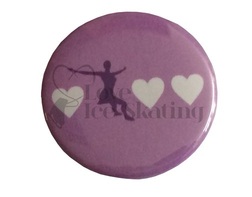 Skater with 3 hearts on lilac Badge