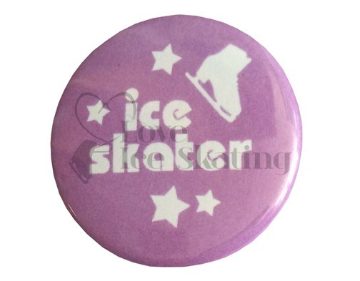Ice Skater with Stars on Purple badge