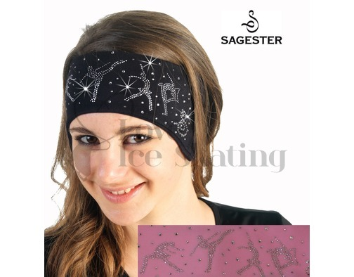 Sagester 526 Pink Ice Skating Headband with Swarovski Crystal Skaters
