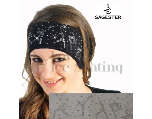 Sagester White Ice Skating Headband with Swarovski Crystals