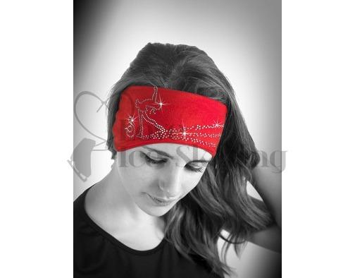 Sagester Red Figure Skating Layback Headband in Swarovski Crystals