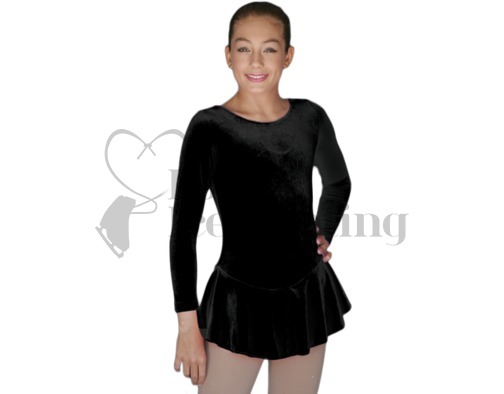 Chloe Noel Classic Black Velvet Ice Skating Test Dress DLV627 BB