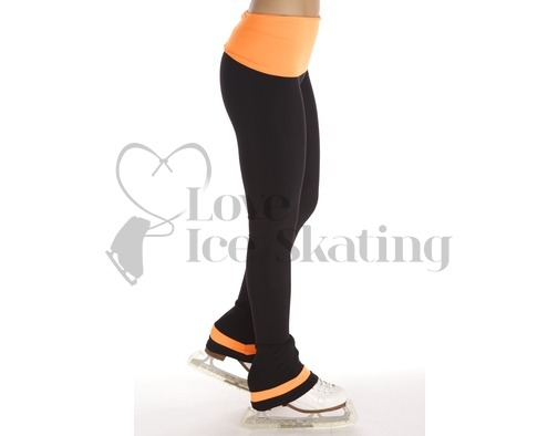 Thuono Neon Orange Ice Skating Performance Leggings Adult Large
