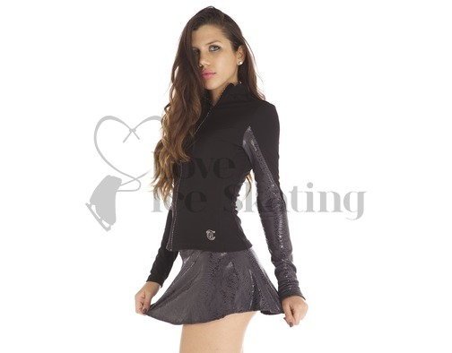 Thuono Performance Ice Skating Jacket Glitter Serpent Black with Crystal Zip