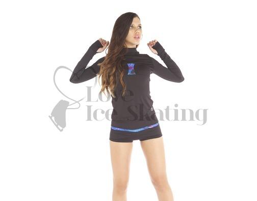 Thuono Bioceramic Long Sleeve Ice Skating Training Top Glitter Explosion Blue