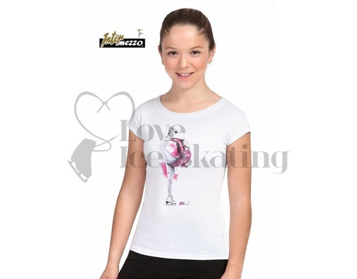 White Ice Skating T-Shirt with Biellmann Skater