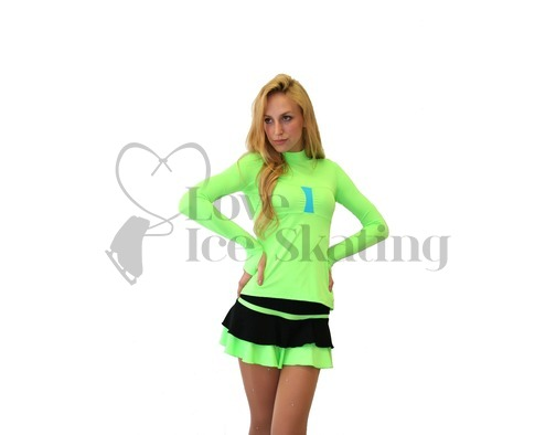 Thuono Thermal Black and Neon Green Figure Skating Skirt