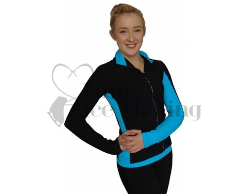 Thuono Blue Performance Figure Skating Jacket with Crystal Zip