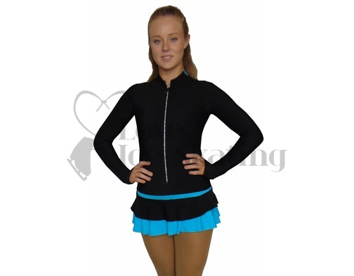 Thuono Blue Thermal Ice Skating Dress with Crystal Zipper