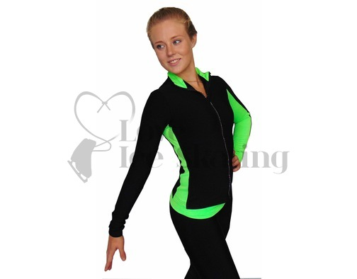 Thuono Neon Green/Smile Figure Skating Jacket with Crystal Zip