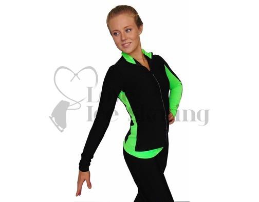 Thuono Neon Green/Smile Figure Skating Jacket with Crystal Zip