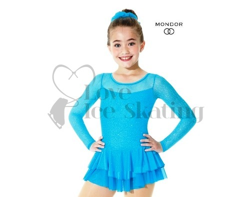 Mondor 636 Tropical Blue Sparkly Mesh Figure Skating Dress