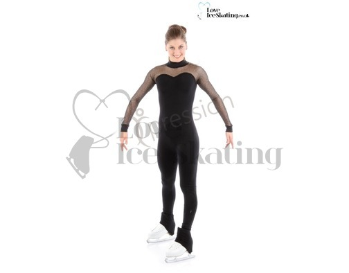 Jerry's Ice Skating Catsuit XS1653 Black with Glitter Mesh