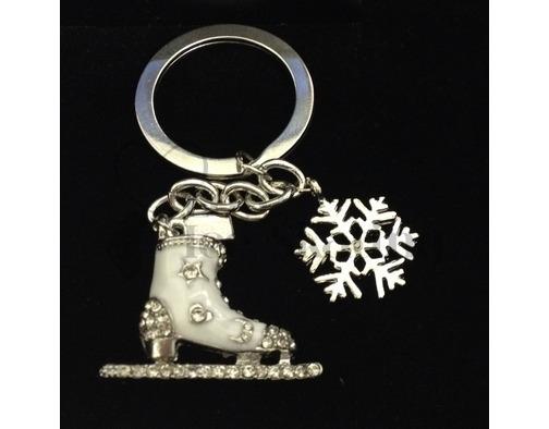White Rhinestone Skate & Snowflake Bag Key Charm