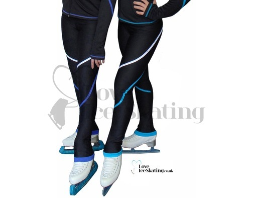 P618F Ice Skating Fleece Leggings w Piping & Crystals
