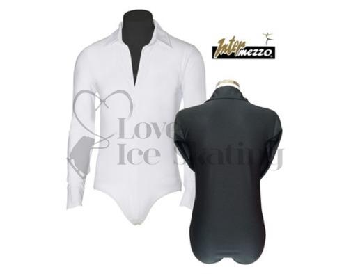 Men's White Ice Skating Dress Shirt Unitard