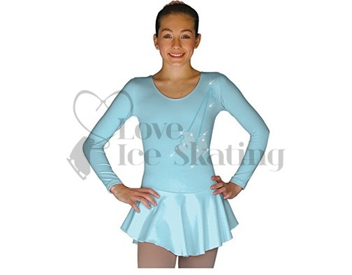 DLP728-Blue Dress with Rhinestone Skates