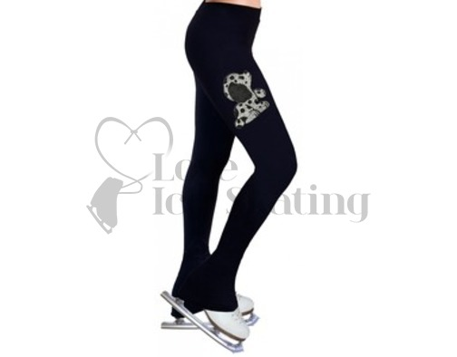 Ice Skating Leggings Puppy B&W Rhinestones