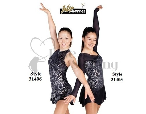 Intermezzo Sleeveless Black Velvet Dress With Sliver Lightning