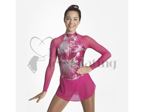 Fuchsia Skating Dress with Metallic Abstract Floral Design