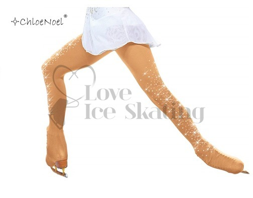 Ice Skating Mid Tan Tights OTB with Crystal Spray 2 Sides