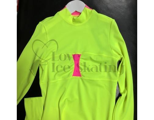 Thuono Ice Skating Top Neon  Yellow w Pink Inserts