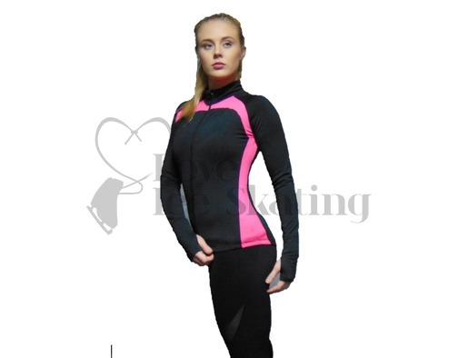 JIV Figure Skating  Jacket J24 Black with Pink