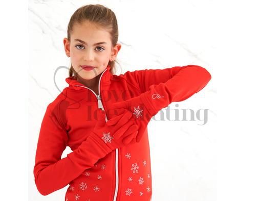Ice Skating Red Snowflake Gloves