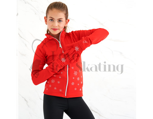 Ice Skating Red Jacket w Snowflakes