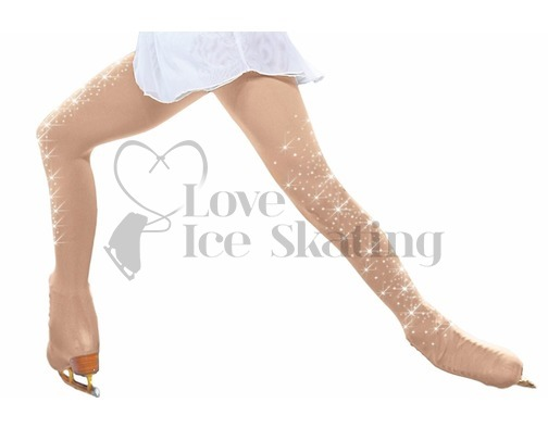 Ice Skating Light Tan Tights Over the boot w Crystals