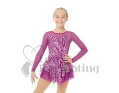 Mondor 668 Hibiscus Metallic Silver skating Dress
