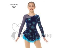 Blue Velvet Firework Glitter Figure Skating Dress by Mondor