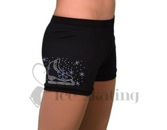 Chloe Noel Practice Shorts Black with Rhinestone Skate / Blue Snow Flakes