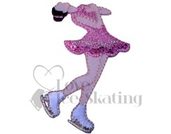 Iron on Sparkly Pink / White Embroidered Patch Layback Ice Skater