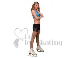 Chloe Noel Practice Shorts Black with Rhinestone Skate / Fuchsia Snow Flakes