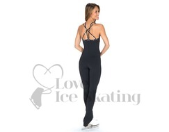 Black Ice Skaing Catsuit Jumpsuit with Crystals Jerry's 296