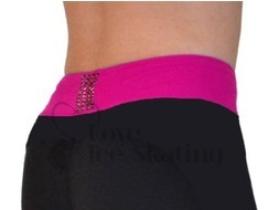 Chloe Noel PS35 Black with Fuchsia Waist Band Skating Leggings w Swarovski  Crystals