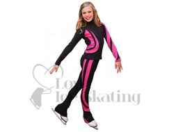 Chloe Noel Swirls Ice Skating Leggings P26 Fuchsia with Swarovski crystals