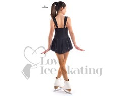 Sagester Black Ice Skating Dress with Swarovski AB Crystals