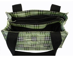 Figure Skating Tote Bag Green Plaid