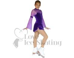 Chloe Noel Ice Skating Tights In Boot Medium Tan with AB Crystal Spray Down One Leg