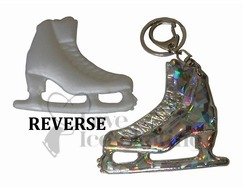 Silver / White Ice Skating Figure Skate Keyring