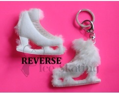 White with Fur Ice Skating Figure Skate Keyring
