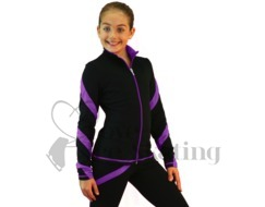 Figure Skating Jacket J36 Black with Purple Spiral by Chloe Noel