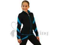 Figure Skating Jacket J36 Black with Turquoise Spiral by Chloe Noel