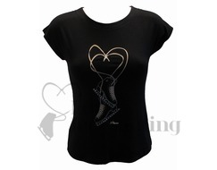 Intermezzo Black Figure Skate T-Shirt with Rhinestones