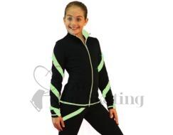 Ice Skating Jacket J36 Black w Light Green Spirals with Swarovski Crystals